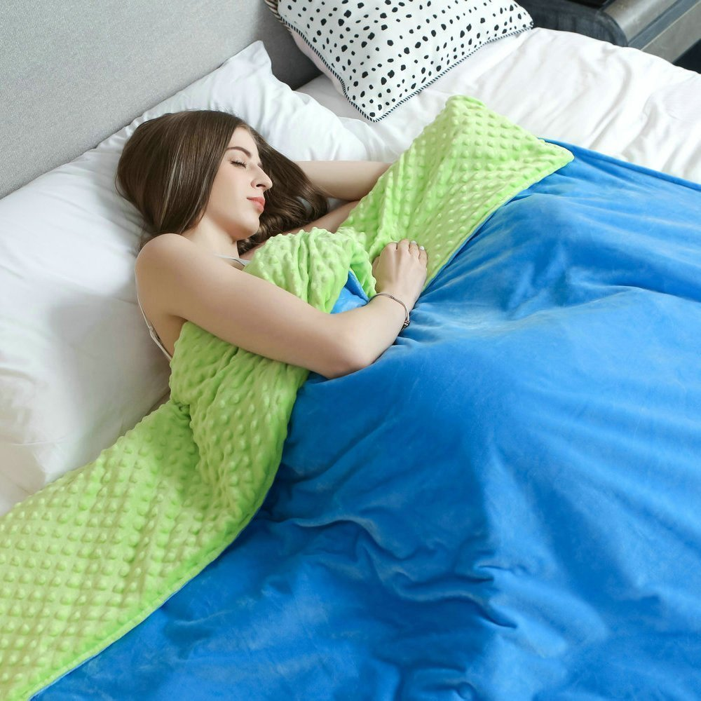 Premium Sensory Weighted Blanket Therapy by Weighted Idea for Adults - Green/Blue (60''W x 80''L, 15 lbs) by Weighted Idea