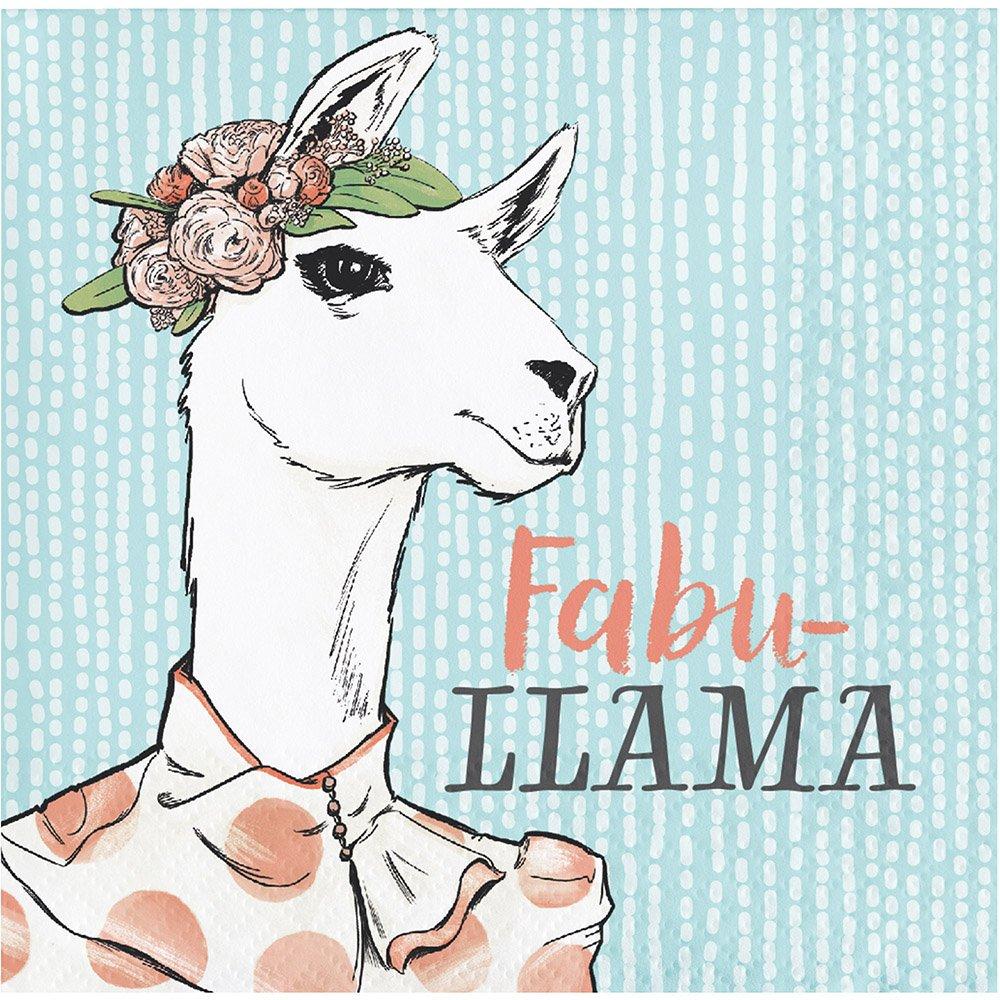 Elise 330010 Dapper Animals Pattern 3-Ply Beverage Paper Napkins, Llama