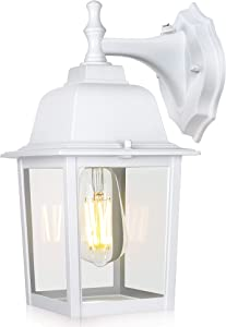 WENFENG Dusk to Dawn Sensor Outdoor Wall Light Fixtures with Waterproof Anti-Rust Matte White Finish, Clear Glass Shade, Wall Mount Exterior Lights for House for Porch Garage Outside