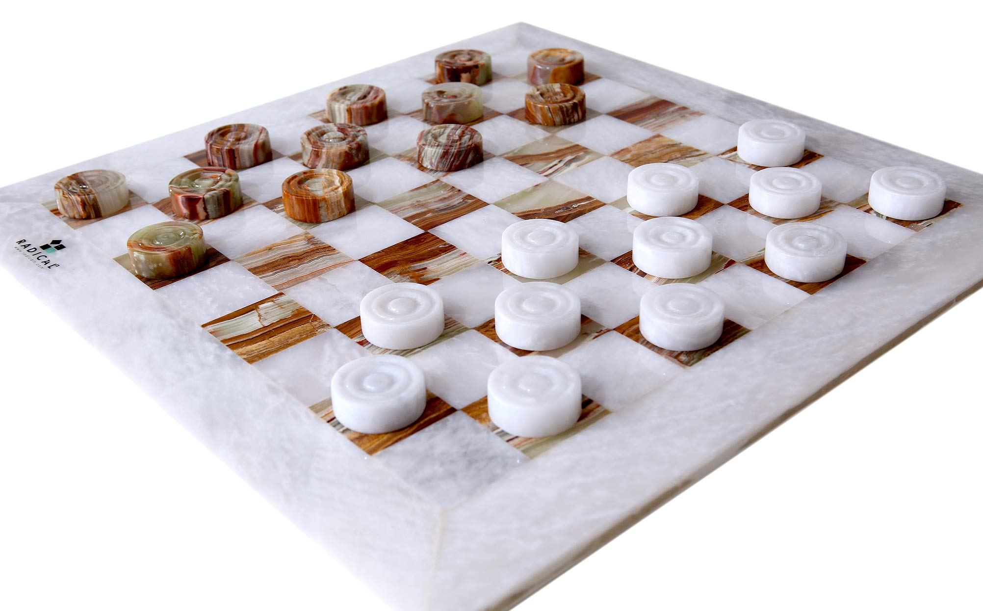 RADICALn Checkers Board Game Handmade Marble 12 Inches 2-Player Draughts Coffee Time Checker Game Set for Kids - Non Chinese Non Plastic Non Chess Set (White and Green Onyx)