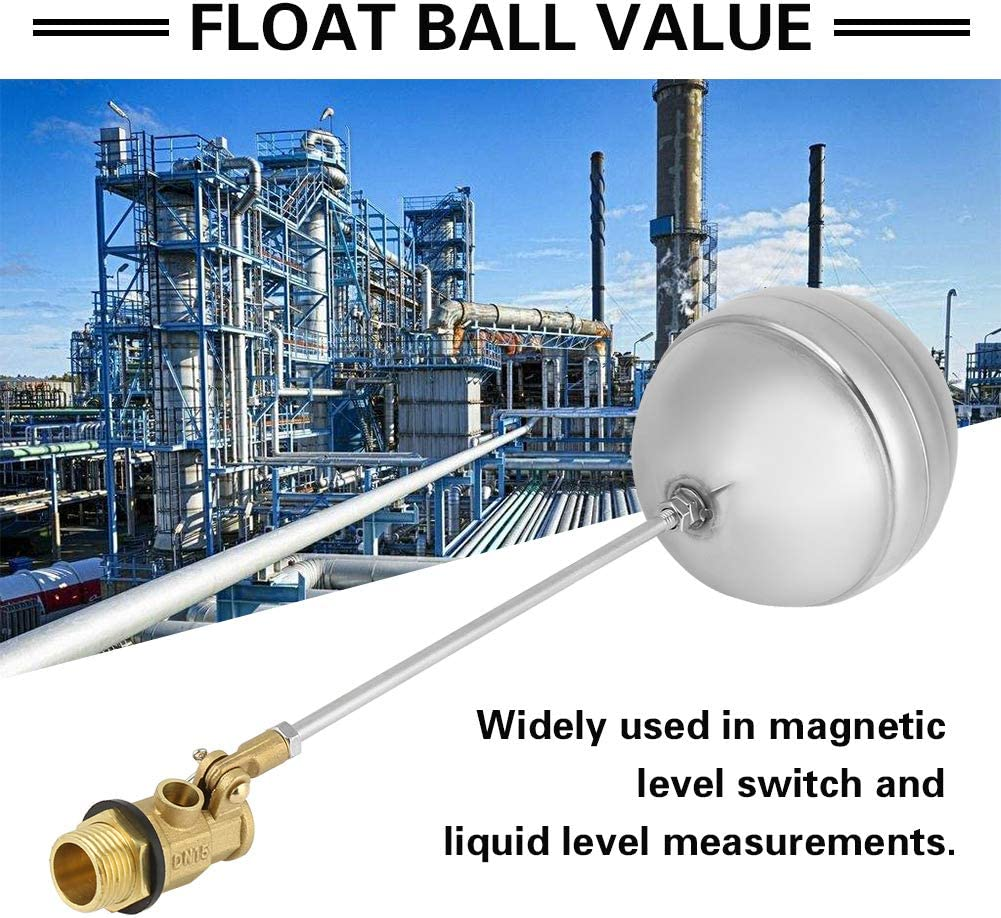 Floating Ball Valve DN15 G1//2 Brass Male Thread Adjustable Water Float Sensor Stainless Steel Tank Pool Water Level Float Valve