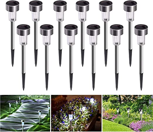 Luces Solares Jardín LED[12 pack], Weyty Luz Solar de Césped, Impermeable Paisaje/Pathway Lámpara de Acero Inoxidable LED Luces Solares de Exterior Para Patio, Césped, Patio, Pasillo: Amazon.es: Iluminación
