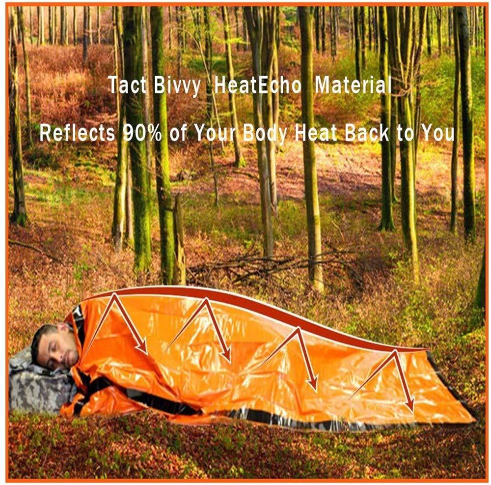zimohe Sac de Couchage de Survie Sac de Couchage durgence pour Le Camping en Plein Air et la Imperm/éable Survie Bivy Sac Survie Materiel Imperm/éable Randonn/ée Couvertures Kit