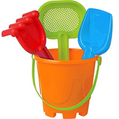 Playtek Sand Bucket Beach Toy Set, Includes Sand Bucket, Sifter and More, 4 Pieces: Toys & Games