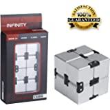 open up to love Infinity Cube Fidget Toy Hand Killing Time Prime Infinite Cube for ADD, ADHD, Anxiety, and Autism Adult and Children (Silver)