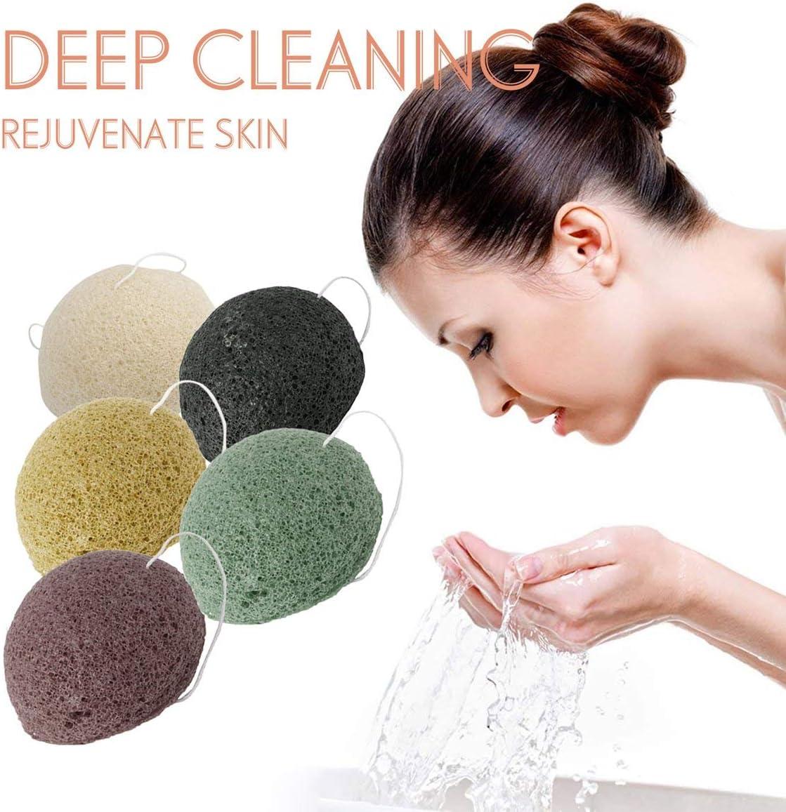 Monllack Nat/ürliche Konjac Schwamm Gesichtspflege Reinigung Waschen Schwamm Whitening Tiefenreinigung Poren Schwamm Hautpflege Werkzeuge