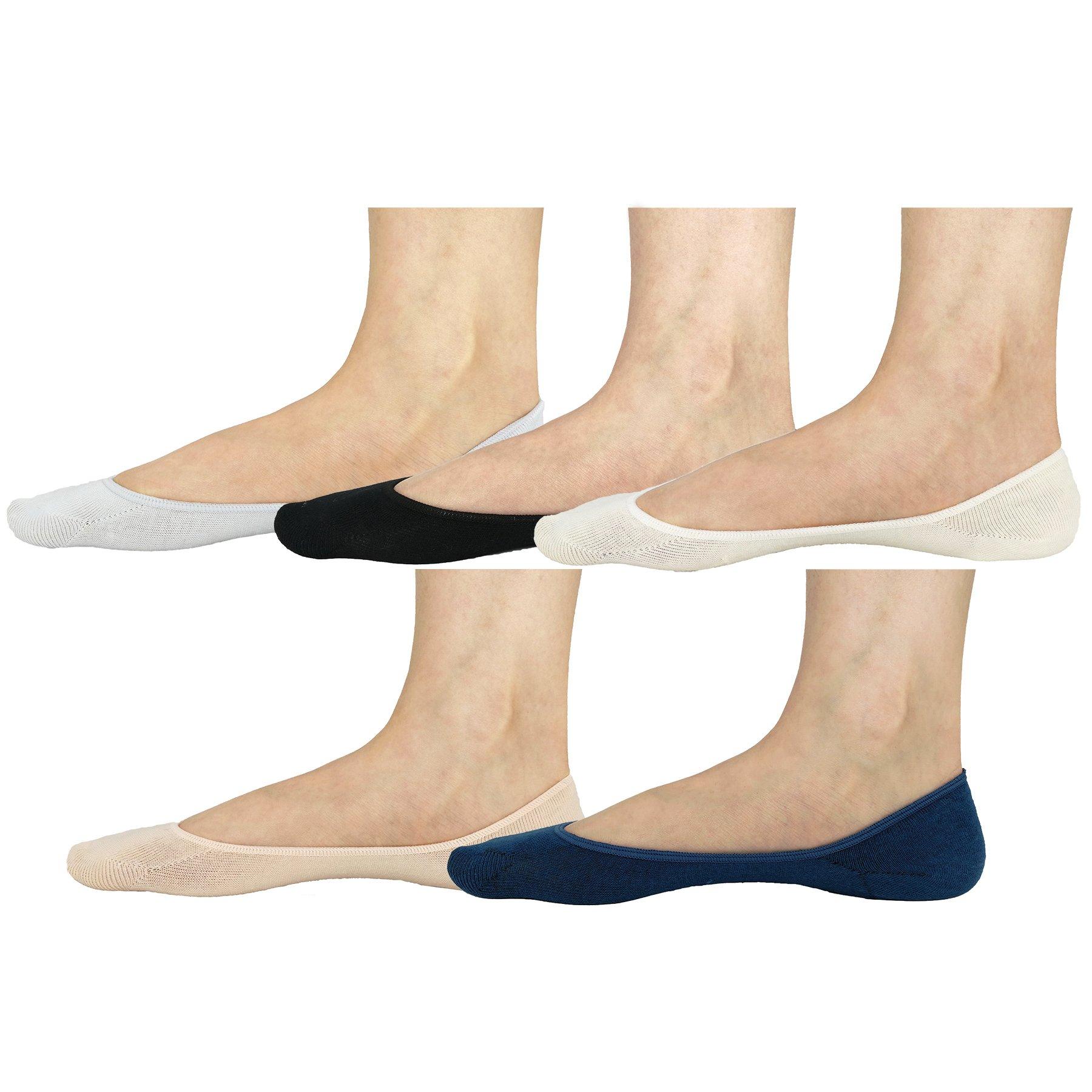 Women No Show Socks Cotton Liner Socks Non-Slip No Show Socks Low Cut Boat Socks 5-Pairs