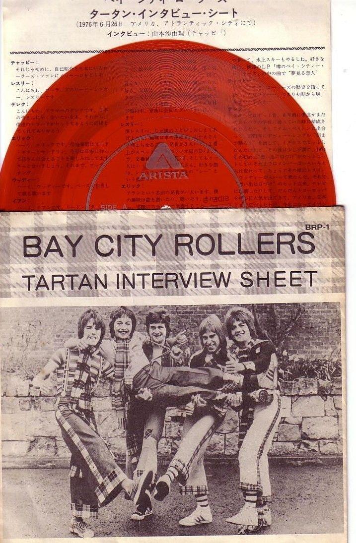 7'' Japan Promo Red Wax Flexi Disc Bay City Rollers Tartan Interview Sheet
