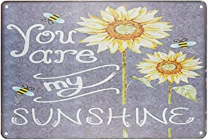 "TISOSO Rustic Sunflowers You are My Sunshine Vintage Retro Metal Tin Sign Wall Art Primitive Country Decor 8""X 12"" Inches"