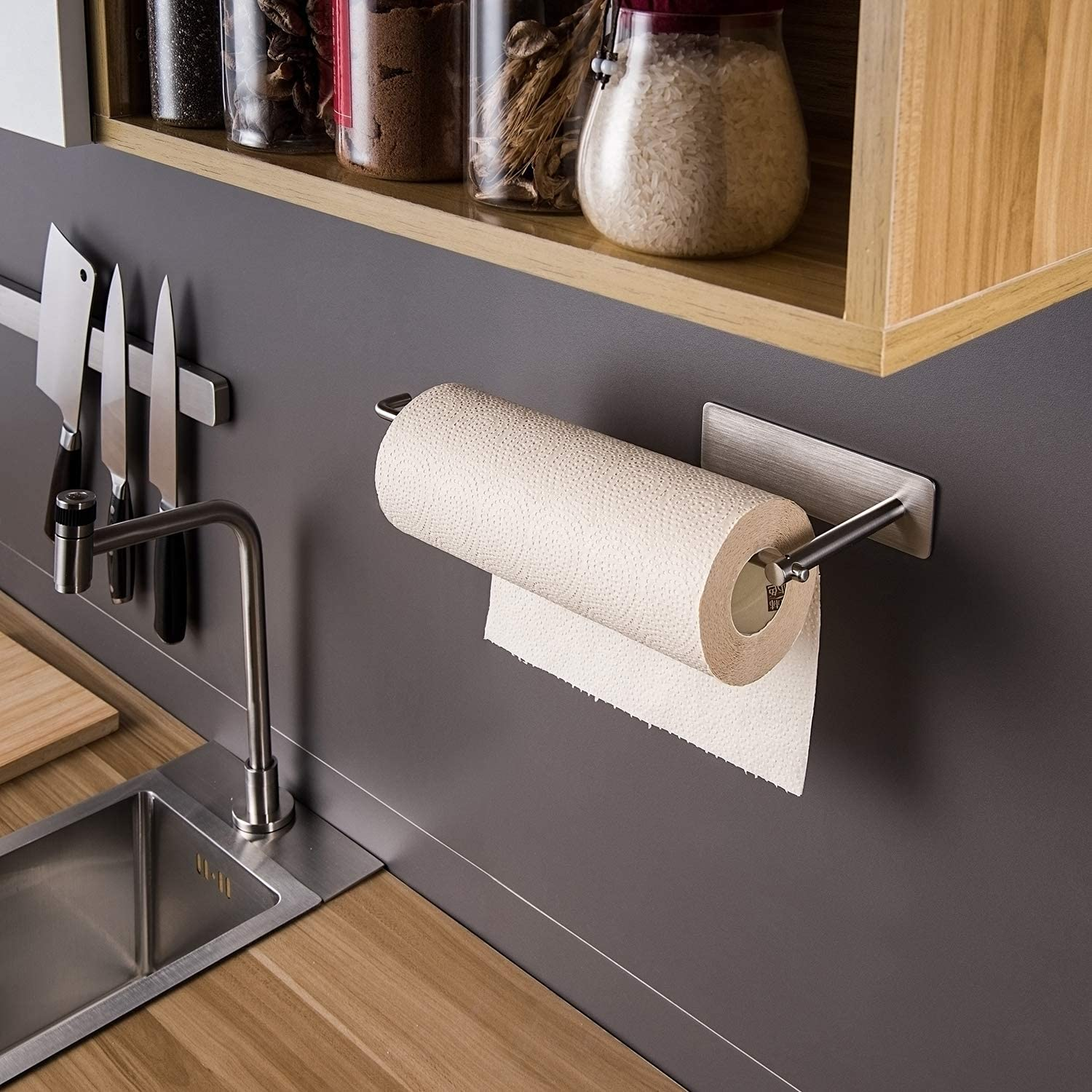 SUS304 Stainless Steel SUNTECH Paper Towel Holder Under Kitchen Cabinet Self Adhesive Matte Black Towel Paper Holder Stick on Wall