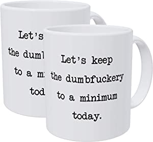 Willcallyou Pack of 2 Let's Keep It Friendly and Peaceful today 11 Ounces Funny White Coffee Mug