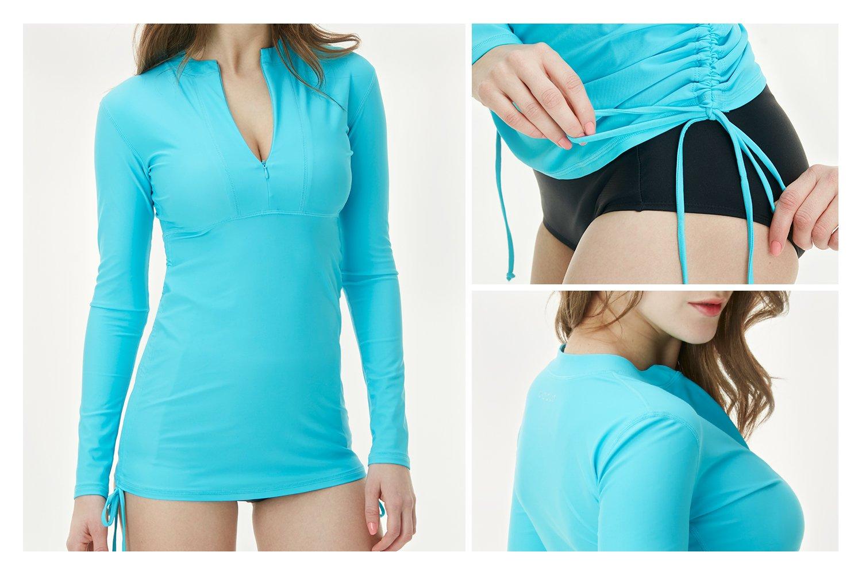 Full /& Half Zip Front Long Sleeve Top Rashguard Swimsuit FSZ02 FSZ04 Tesla Gears TSLA Womens UPF 50