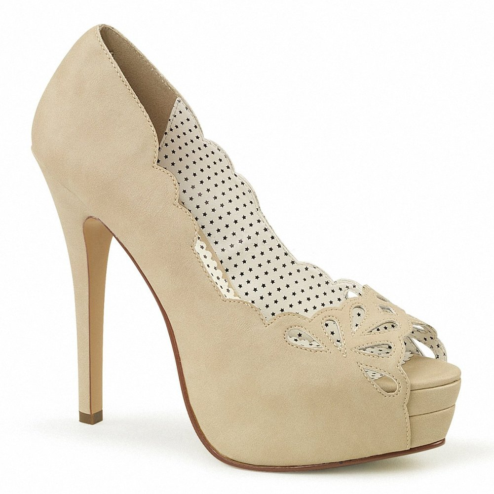 Pin Up Couture BELLA-30 Women 5 1/4 Heel, 1 1/2 Platform Peep Toe Pump W/Cut-Out Detail B074F3N8CK 6 B(M) US|Tan Faux Leather