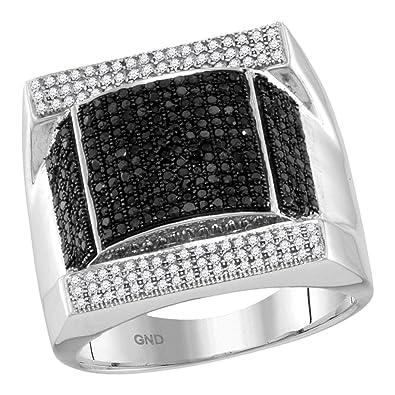 2ae252b6534c Jewels By Lux anillo de diamante negro de oro blanco para hombre   Amazon.es  Joyería