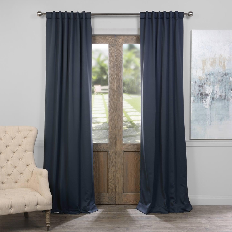 Nocturne bluee 50 x 108 HPD HALF PRICE DRAPES BOCH-194906-108 Room Darkening Curtain 50 x 108 Dark Mallard 1 Panel