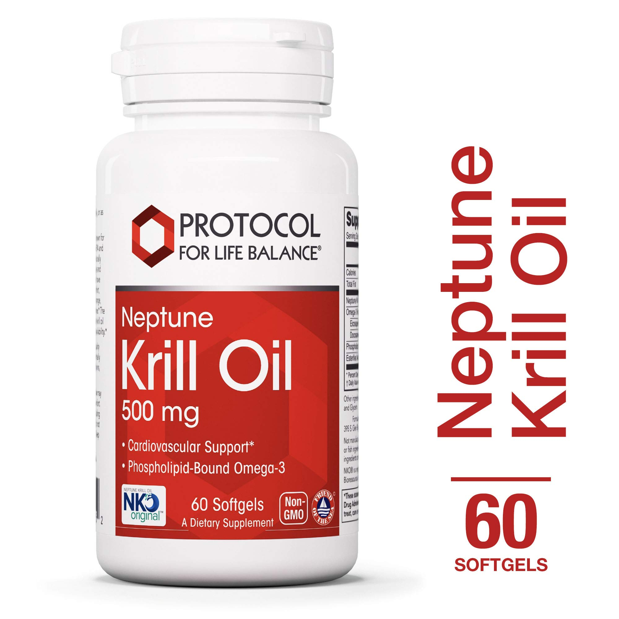 Protocol For Life Balance - Neptune Krill Oil 500 mg - Contaminant Free High for Cardiovascular, Immune, and Joint Support - 60 Softgels by Protocol For Life Balance