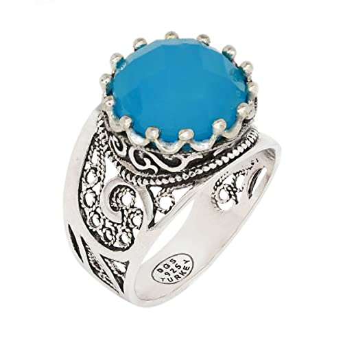 d203273c3705e 925 Sterling Silver Blue Agate Filigree Paisley Ring (Size 5 - 12)