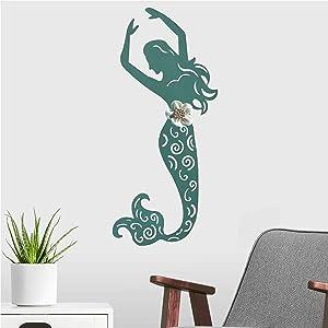 BSTGIFTS Blue Mermaid Wall Decor, Metal Wall Art for Home Garden Living Room Bedroom