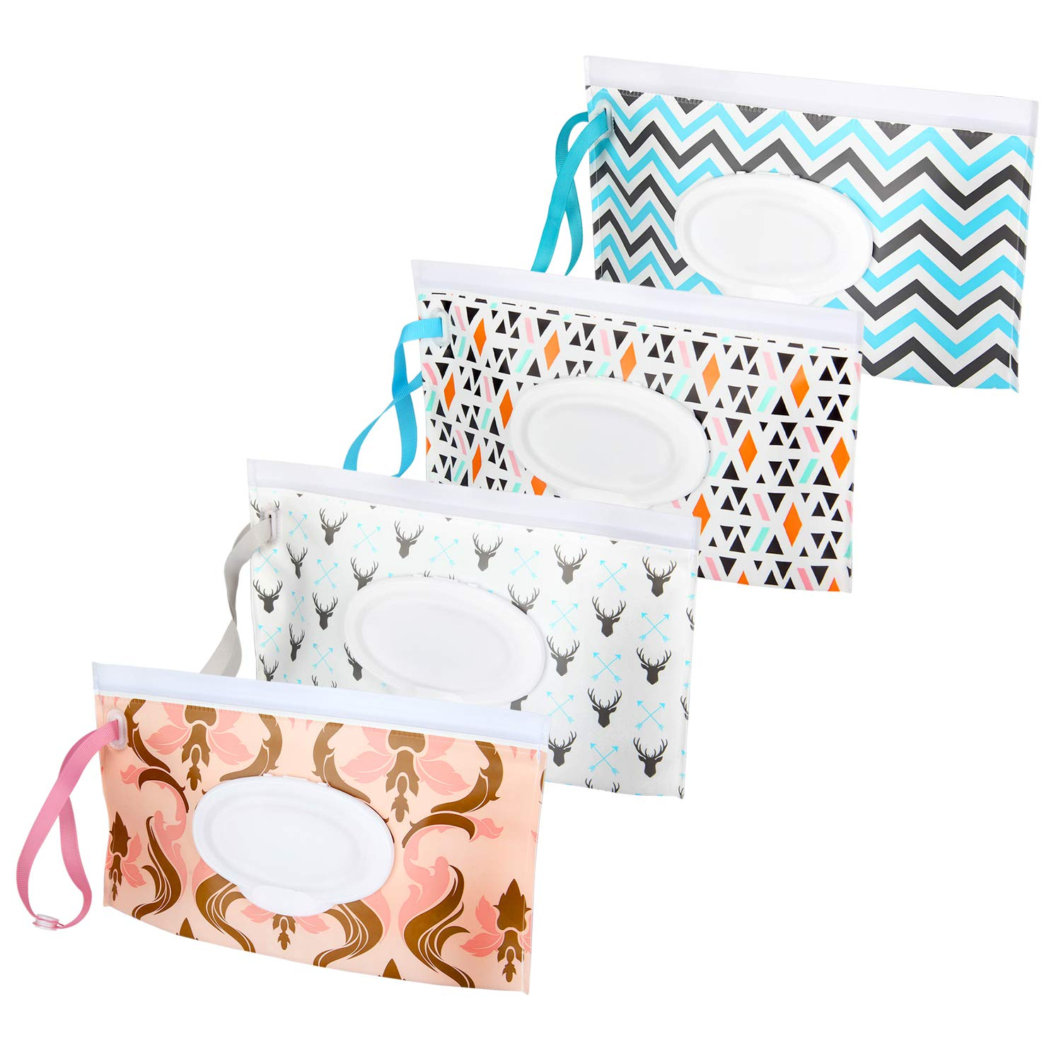 Eco-Friendly and Lightweight Wipes Holder to Keep Wipes Moist Wet Wipe Pouch 4 Pack Reusable Baby Wipes Travel Case