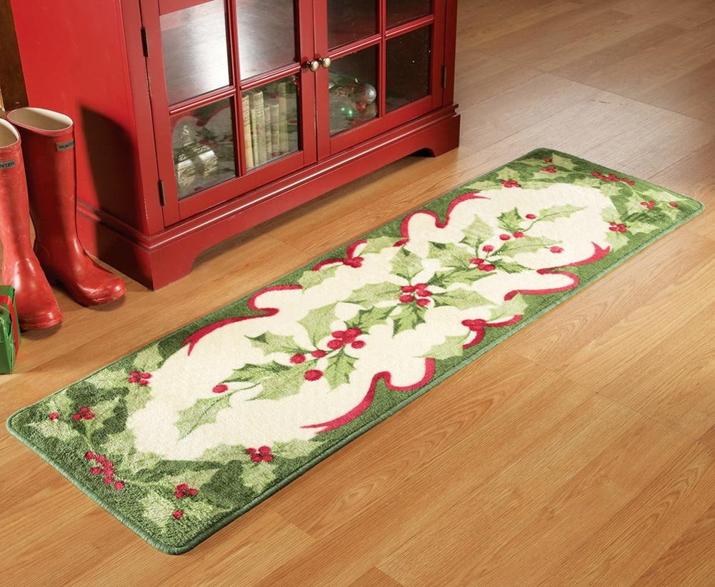 Amazon.com: Non Skid Holiday Holly Floor Runner Area Rug, 18 Inches X 6  Inches: Kitchen U0026 Dining