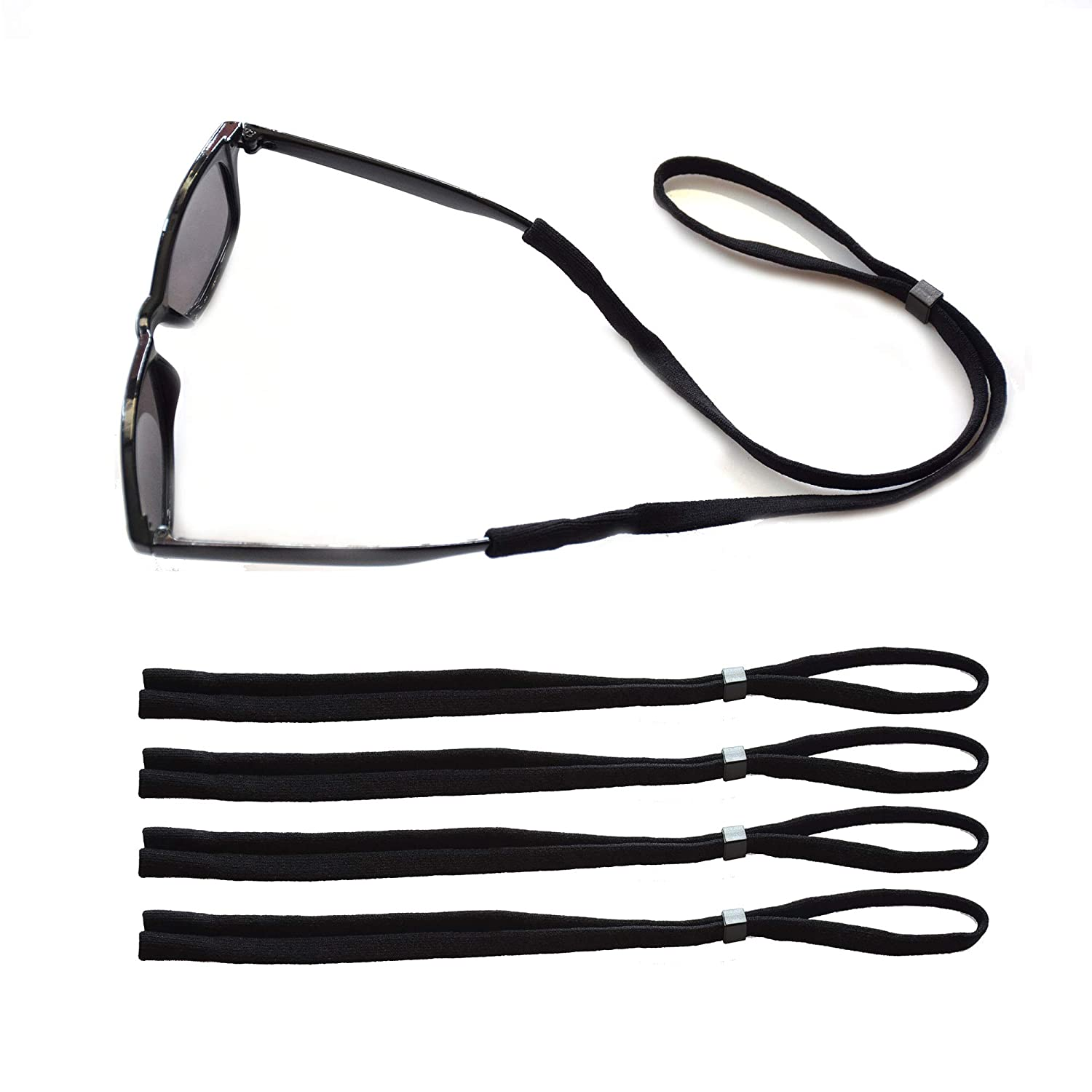 JUSLINK Adjustable Cotton Eyewear Retainer, Sunglasses strap,Men Glasses Strap,Floating Sunglass Straps,Set of 4 (Black)