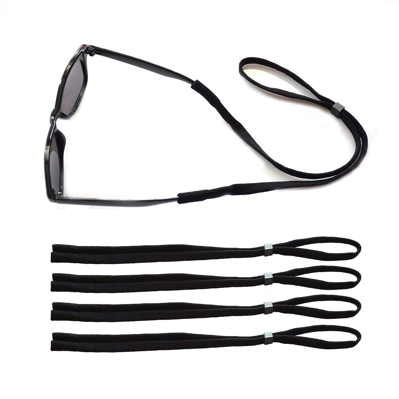JUSLINK Adjustable Cotton Eyewear Retainer, Sunglasses strap,Men Glasses Strap,Floating Sunglass Straps,Set of 4 (Black)