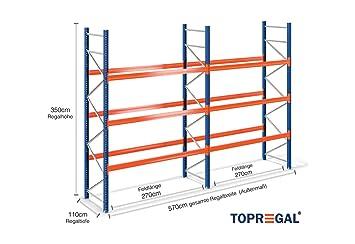 B-Ware 5,7m Palettenregal 110cm tief mit 2 Ebenen Industrieregal 3m hoch