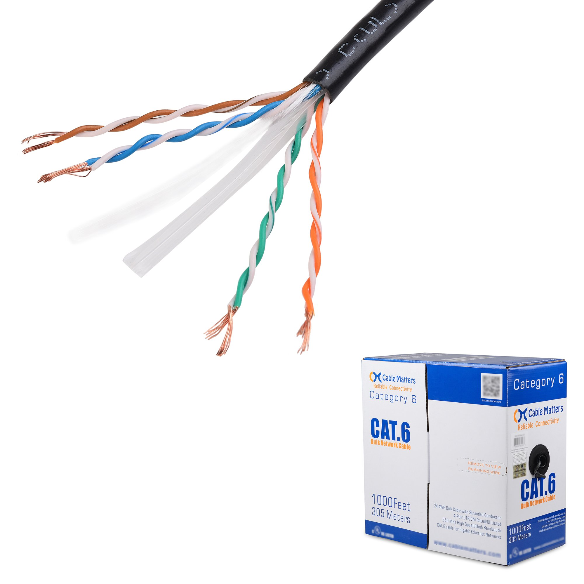 [UL Listed] Cable Matters In-Wall Rated (CM) Cat6 Stranded Bulk Ethernet Cable in Black 1000 Feet by Cable Matters