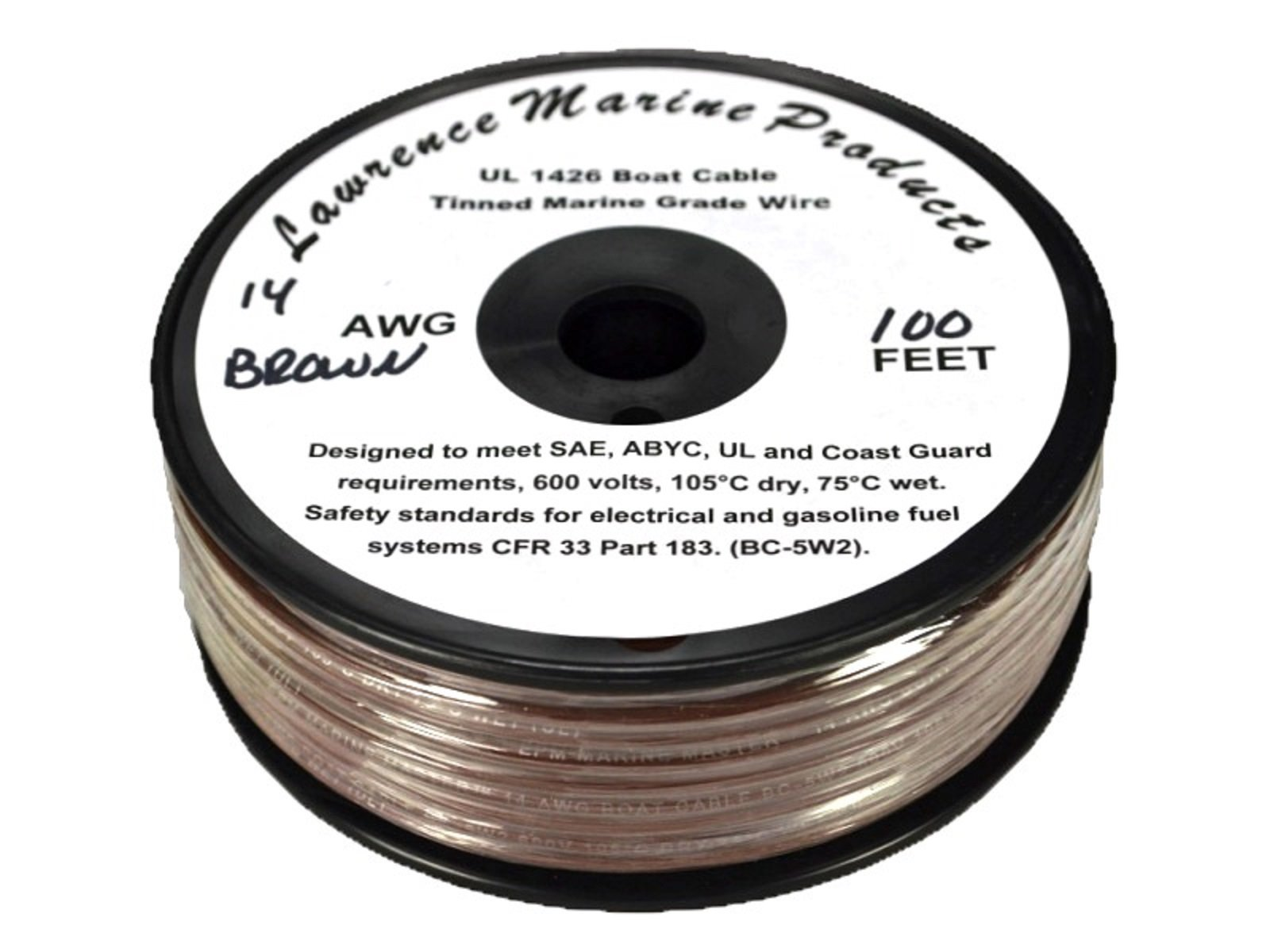 14 AWG Tinned Marine Primary Wire, Brown, 100 Feet
