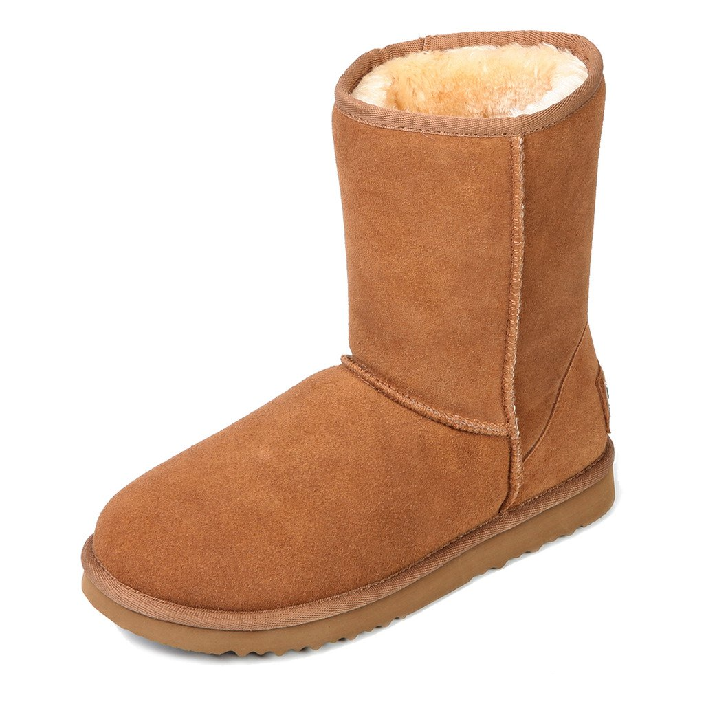 Chestnut Ausland--Women's Half Snow Boots, with Water-Resistant Vamp, Thick Fur Lining and Lightweight Rubber Sole