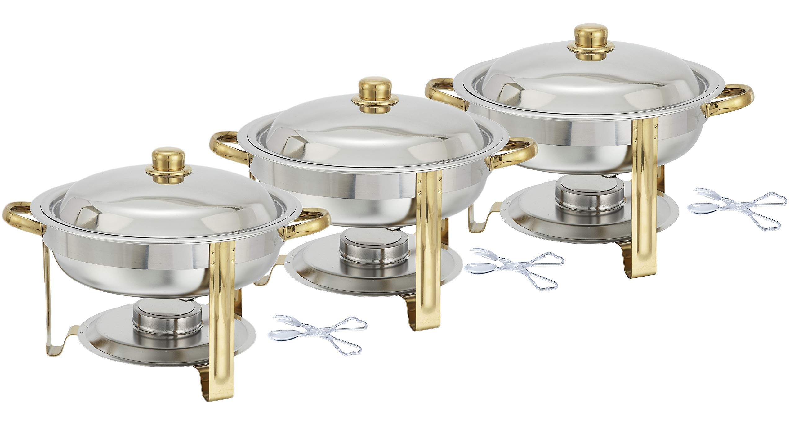 Tiger Chef 3-Pack 4 Quart Round Chafing Dish Buffet Warmer Set, Gold Accented Chafer, Includes Plastic Tong by Tiger Chef