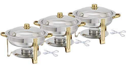 Tiger Chef 4 Quart Round Chafing Dish Buffet Warmer Set