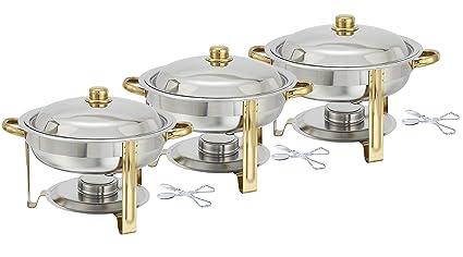amazon com tiger chef 3 pack 4 quart round chafing dish buffet rh amazon com