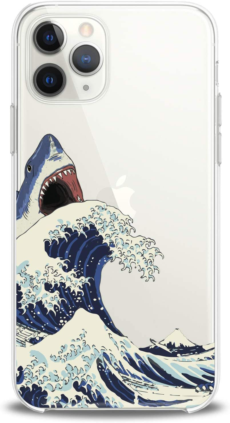 Cavka TPU Cover for Apple iPhone Case 11 Pro Xs Max X 8 Plus Xr 7 SE 2020 Shark Great Wave Man Flexible Silicone Clear Cute Woman Design Slim fit Animals Watercolor Print Gift Soft Nature Lightweight