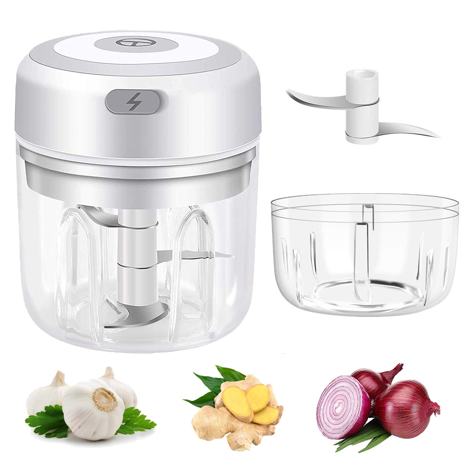 Electric Mini Garlic Chopper Portable Garlic Press Food Processor 2 PCS Food