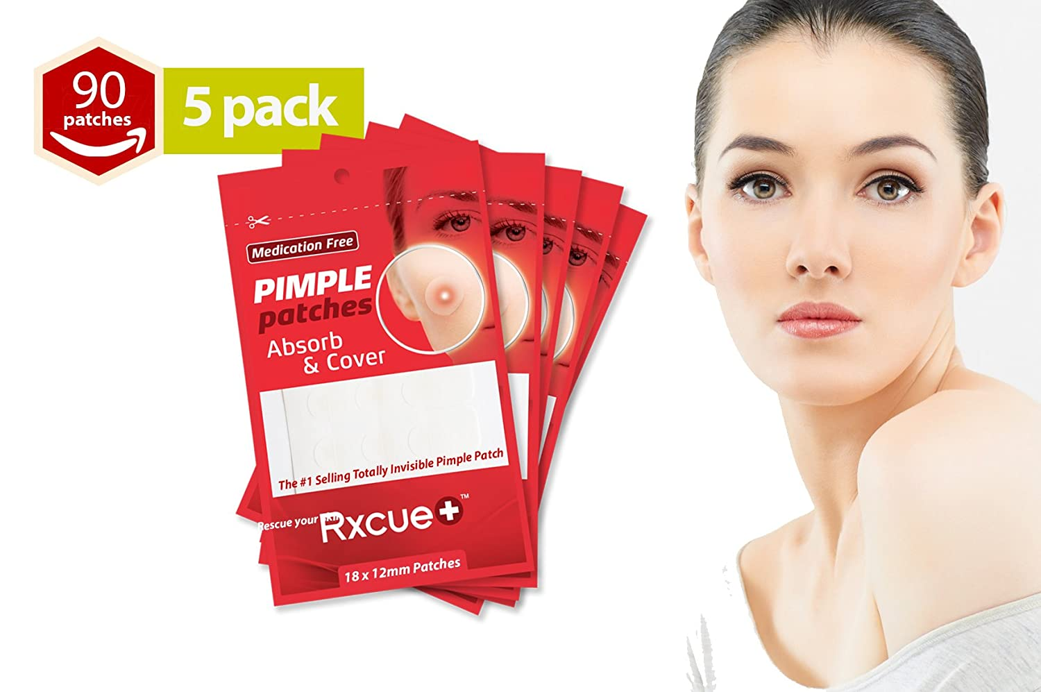 Rxcue Korean INVISIBLE Acne Blackhead Pimple Master Patches | 2, 5 AND 10 Pack | Super Thin and Medication Free | 12 mm size (5 Pack - 90 Pieces) Rxcue Korean Skin Care