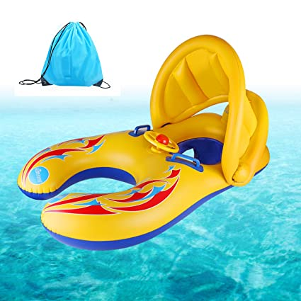 Codream Mommy And Kidfloats Inflatable Fat Baby Pool Floatation Toys With Removeable Sun Canopy Makes