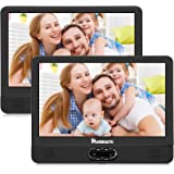 "NAVISKAUTO 12"" Portable Dual Screen DVD Player for Car with Built-in Rechargeable Battery and Last Memory, Supports USB/SD Card Playback"