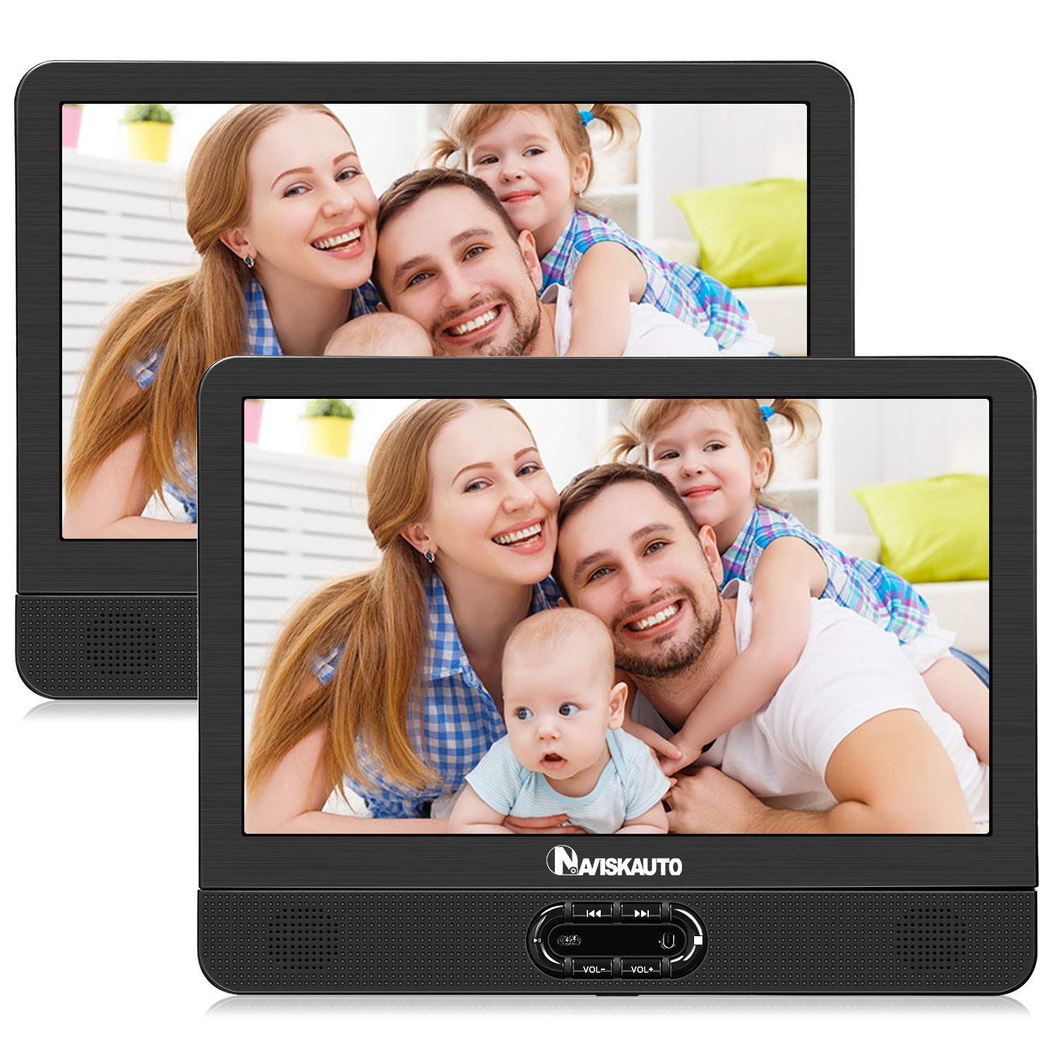 NAVISKAUTO 12'' Portable Dual Screen DVD Player for Car with Built-in Rechargeable Battery and Last Memory, Supports USB/SD Card Playback