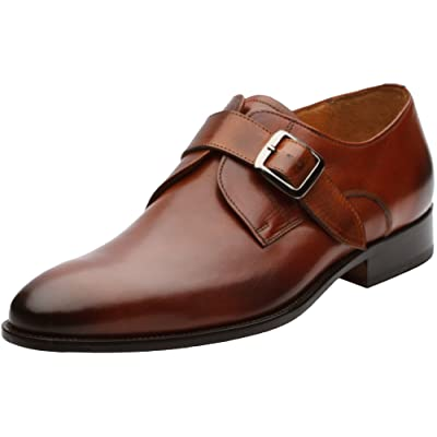 3DM Lifestyle Men's Single Monkstrap Modern Classic Leather Lined Perforated Dress Shoes | Oxfords
