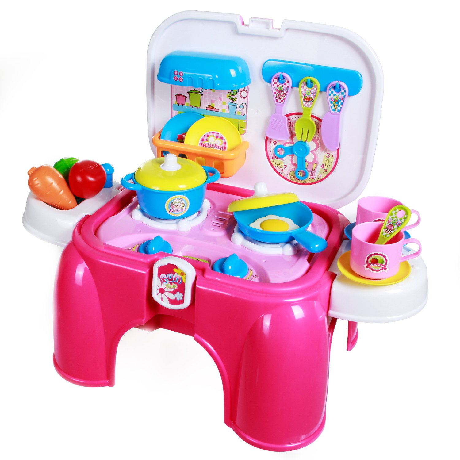 SGILE Kitchen Playset Toy Kids Pretend Cooking Food Set Multiple