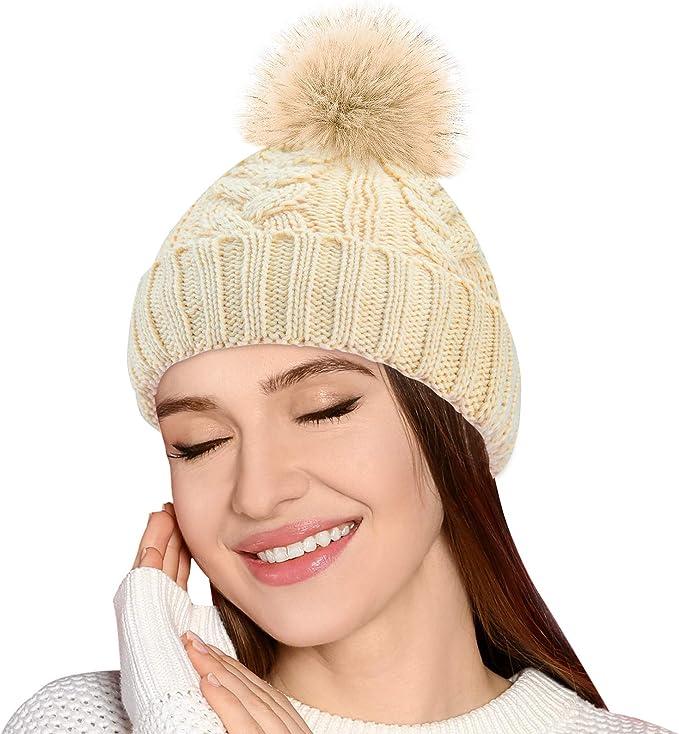 Hut Damen Damenmütze Echtfell Bommel Strickmütze Fellbommel Beanie Mütze Wolle