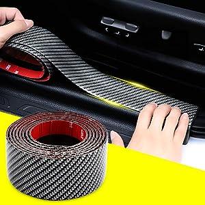 QBUC 5D Carbon Fiber Wrap Film Self-Adhesive Car Door Sill Protector Bumper Protector, Anti-Collision Strip Rubber car Bumper Door Guard Scratch Protection Strip 100% Waterproof(width5CM long2.5M)