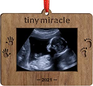 Creawoo 2021 Tiny Miracle Keepsake Ornament Sonogram Picture Frame Ultrasound Photo Frame Idea Gift for New Born Baby, Parents and Grandparents, Christmas Wooden Decoration