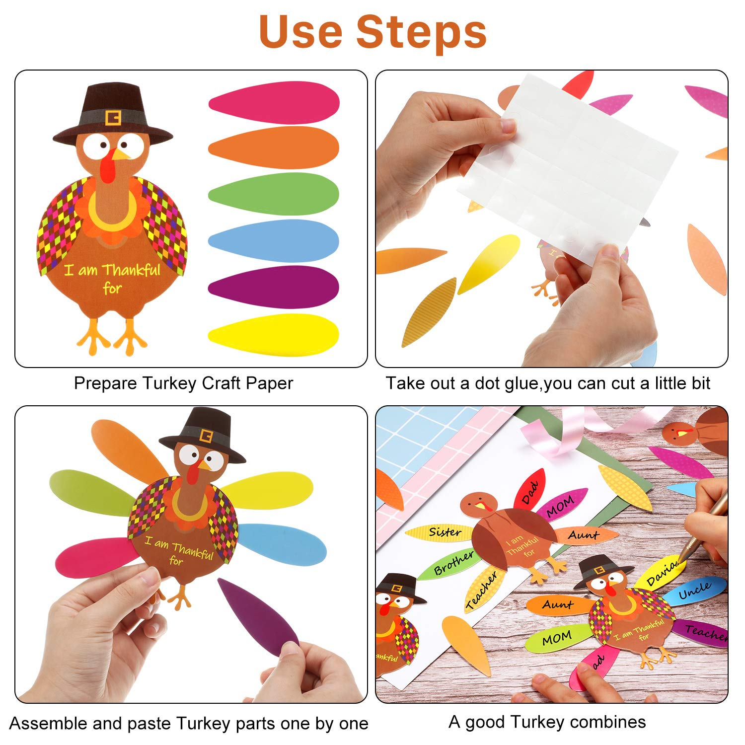 BBTO 36 Pieces Thanksgiving Turkey Craft Paper Turkey Paper Decorations Kit and 240 Pieces Round Dot Glues for Thanksgiving Party DIY Craft Activities