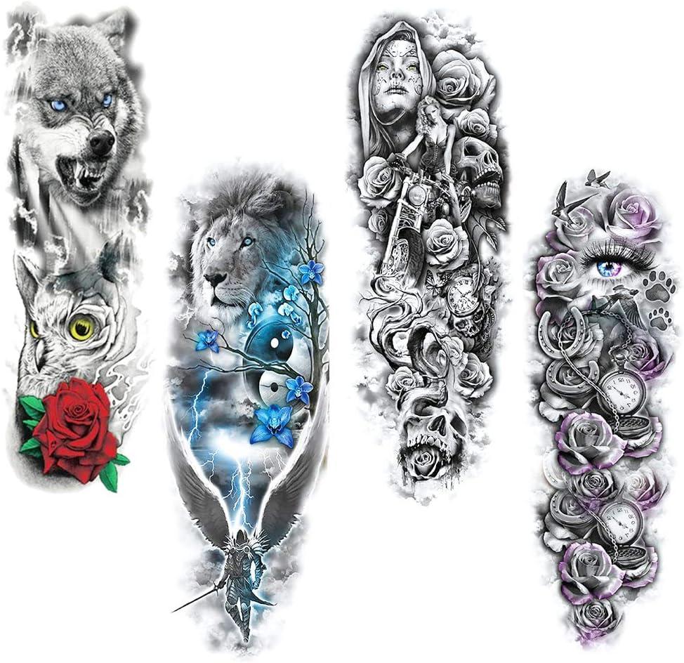Mirrwin Conjunto de Pegatinas de Tatuaje Full Brazo Completo Tatuajes Temporales Negro Tatuaje Cuerpo Pegatinas Tatuaje del Brazo Adecuado para Brazos y Piernas de Hombres y Mujeres Adultos 4 Hojas