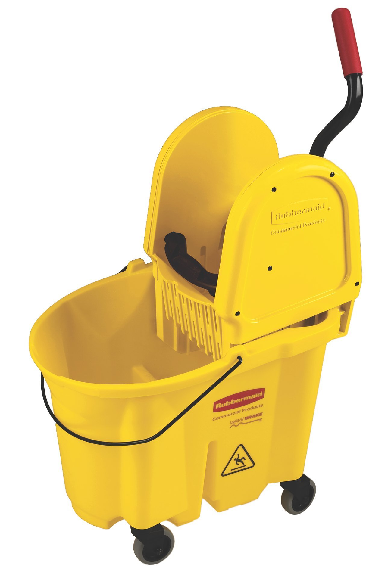 Rubbermaid Commercial WaveBrake Mop Bucket with Down Press Wringer Institutional Combo, 35 Quart, Yellow, FG757900YEL
