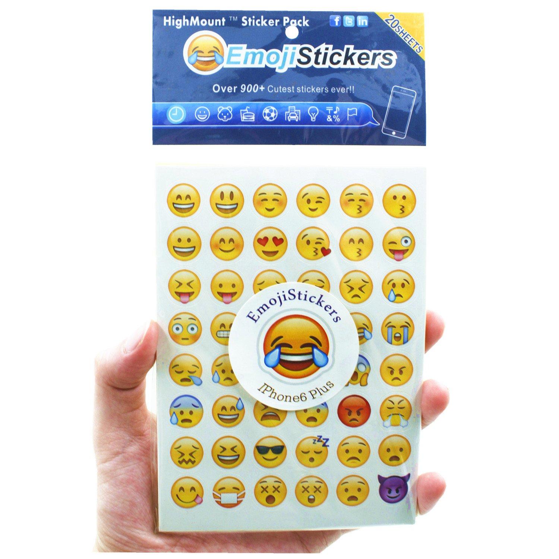 Emoji Pegatinas 20 hojas con las mismas caras felices Etiquetas engomadas de los niños del iPhone Facebook Twitter HighMount