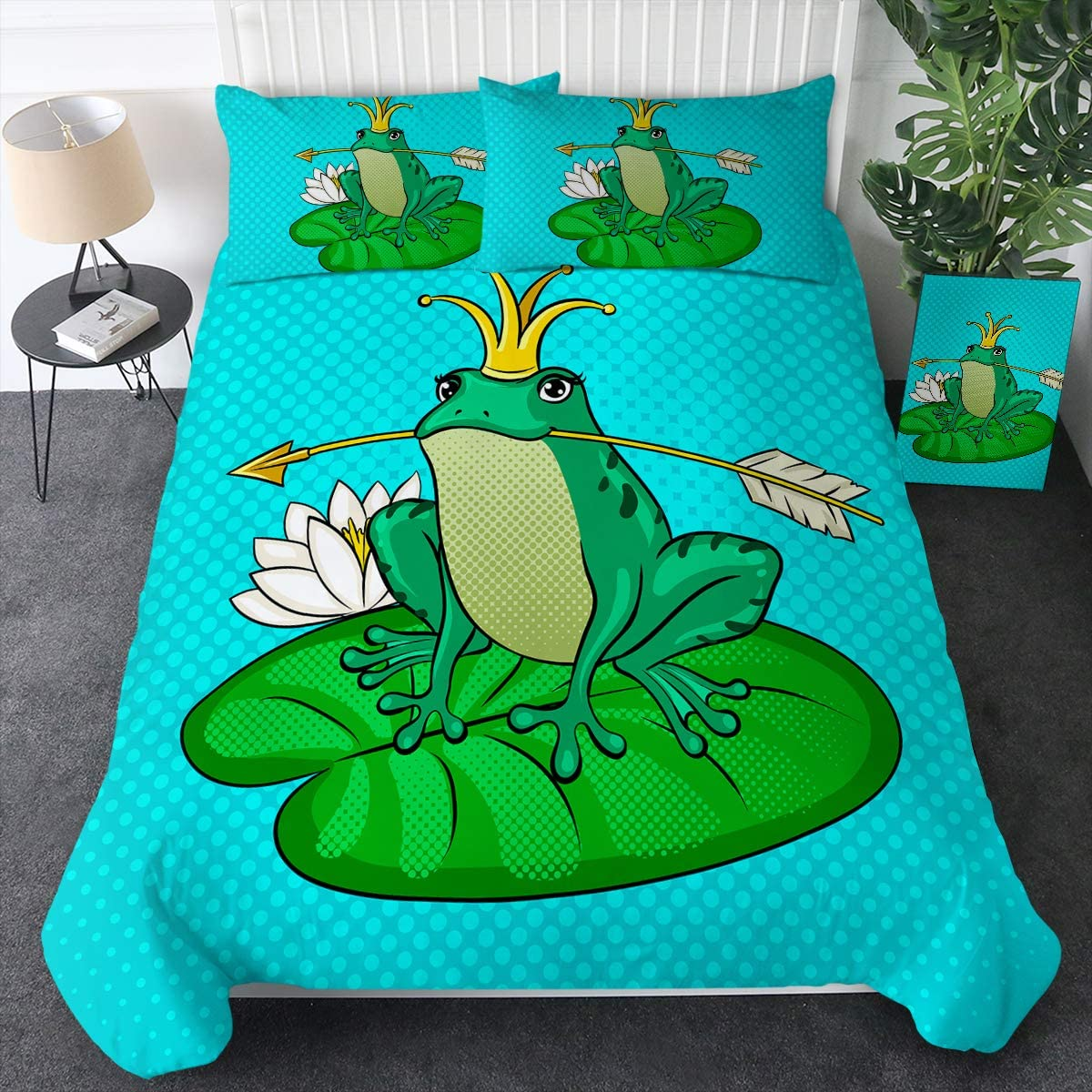 Sleepwish Animal Duvet Cover Set Girls Boys Cute Princess Frog Fairytale Pop Art Pattern Bedding Sets 3 Pieces Kids Teens Green Blue Bedspread Funny Trendy and Modern (Full)
