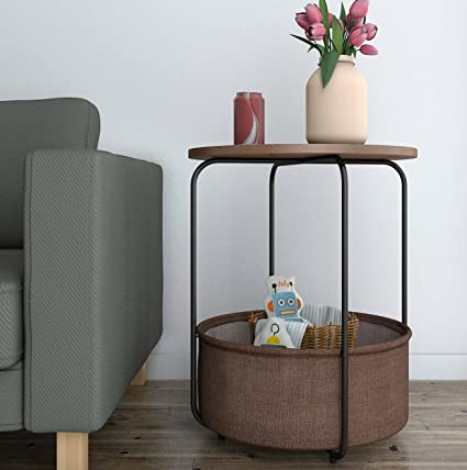 Lifewit Round Large Side Table End Table Nightstand With Storage Basket,  Modern Collection Espresso